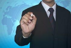 Homem de negócios com conceito branco do marcador Fotografia de Stock Royalty Free