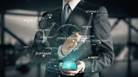 Homem de negócios com conceito móvel do holograma do desenvolvimento do App