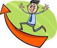 Homem de negócios com desenhos animados da seta Imagem de Stock