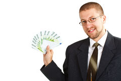 Homem de negócios com dinheiro Imagens de Stock Royalty Free