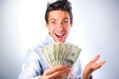 Homem de negócios com dinheiro Imagem de Stock Royalty Free