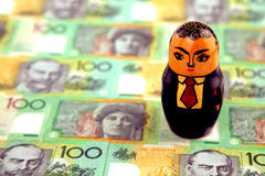 Homem de negócios com dinheiro australiano Fotos de Stock