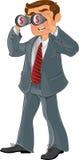 Homem de negócios com dinheiro do olhar dos binóculos Foto de Stock