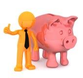 Homem de negócios com a doação do piggybank polegares acima. Imagem de Stock Royalty Free