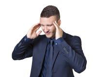 Homem de negócios com dor de cabeça Foto de Stock Royalty Free
