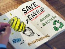 Homem de negócios com energia e conceito ambiental imagem de stock