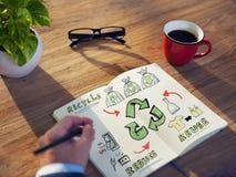 Homem de negócios com energia e conceito ambiental fotos de stock