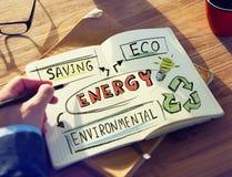 Homem de negócios com energia e conceito ambiental fotografia de stock royalty free