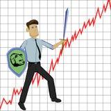 Homem de negócios com espada e shild no fundo do gráfico Fotos de Stock