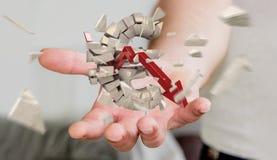 Homem de negócios com explosão da euro- rendição da moeda 3D Fotografia de Stock