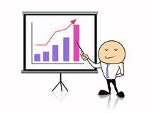 Homem de negócios com gráfico Foto de Stock