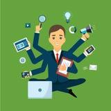 Homem de negócios com habilidade a multitarefas e multi Imagens de Stock Royalty Free