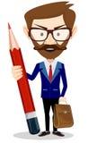 Homem de negócios com lápis, ilustração do vetor Imagem de Stock