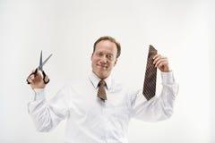 Homem de negócios com laço do corte imagens de stock royalty free