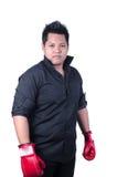 Homem de negócios com a luva de encaixotamento vermelha Imagem de Stock Royalty Free
