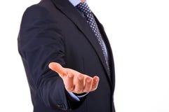 Homem de negócios com mão vazia. fotografia de stock