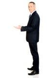 Homem de negócios com mãos abertas Fotografia de Stock