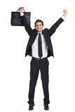 Homem de negócios com mãos acima quem guarda a pasta imagens de stock