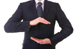Homem de negócio com mãos colocadas. fotografia de stock