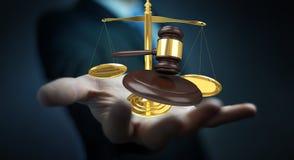 Homem de negócios com martelo de justiça e rendição das escalas de peso 3D Imagens de Stock