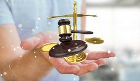 Homem de negócios com martelo de justiça e rendição das escalas de peso 3D Fotografia de Stock