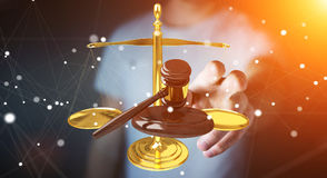 Homem de negócios com martelo de justiça e rendição das escalas de peso 3D Foto de Stock