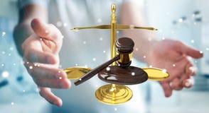 Homem de negócios com martelo de justiça e rendição das escalas de peso 3D Fotos de Stock Royalty Free