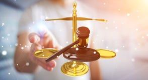 Homem de negócios com martelo de justiça e rendição das escalas de peso 3D Imagem de Stock