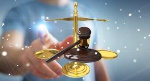 Homem de negócios com martelo de justiça e rendição das escalas de peso 3D Fotos de Stock
