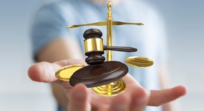 Homem de negócios com martelo de justiça e rendição das escalas de peso 3D Imagens de Stock Royalty Free