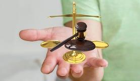 Homem de negócios com martelo de justiça e rendição das escalas de peso 3D Foto de Stock Royalty Free