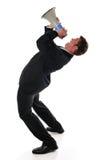 Homem de negócios com megafone Fotos de Stock Royalty Free