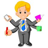Homem de negócios com multi tasking e multi habilidade Fotografia de Stock