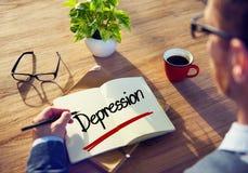 Homem de negócios com nota sobre conceitos da depressão Imagens de Stock