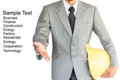Homem de negócios com o aperto de mão à cooperação isolado no branco Imagem de Stock Royalty Free