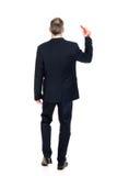 Homem de negócios com o lápis vermelho grande Fotos de Stock