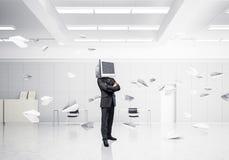 Homem de negócios com o monitor em vez da cabeça Imagem de Stock