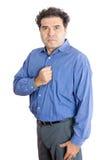 Homem de negócios com o punho em sua caixa contra o branco Imagem de Stock