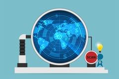 Homem de negócios com o radar digital do uso da ampola para fazer a varredura de símbolos do dólar, de ideia e de conceito do neg ilustração stock