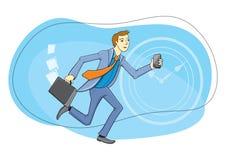 Homem de negócios com o telefone à disposição que corre Imagens de Stock