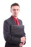 Homem de negócios com originais do mapa fotografia de stock