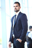 Homem de negócios com os colegas no fundo fotos de stock royalty free