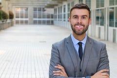 Homem de negócios com os dentes realmente maus foto de stock royalty free