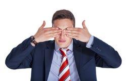 Homem de negócios com os olhos fechados fotos de stock royalty free