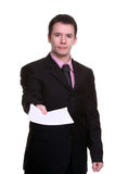 Homem de negócios com papéis Imagem de Stock Royalty Free