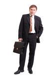 Homem de negócios com pasta Fotos de Stock Royalty Free