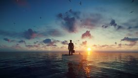 Homem de negócios com a pasta cercada pelas gaivotas, sentando-se em um barco no meio do oceano contra o por do sol vídeos de arquivo