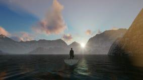 Homem de negócios com pasta em um barco no meio de um lago cercado por montanhas video estoque