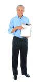 Homem de negócios com placa de grampo Fotografia de Stock