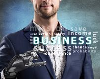 Homem de negócios com ponto robótico da mão na nuvem da palavra do negócio rendição 3d Fotografia de Stock